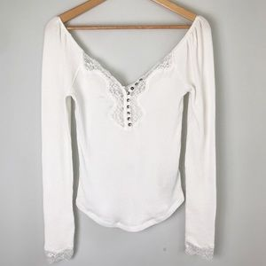 Free People Thermal Top Lace Trim Elastic Shoulder